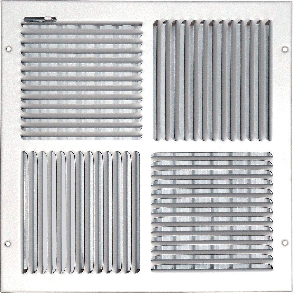 Grille daération à quadruple déflexion pour plafond ou mur 14 po x 14 po