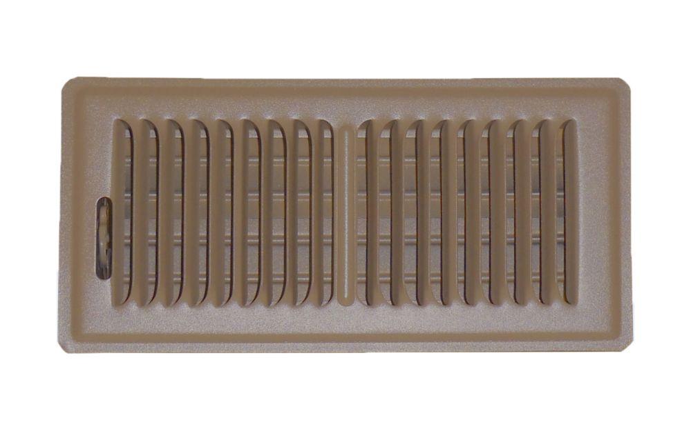 4 In. x 10 In. Brown Floor Register Vent Cover