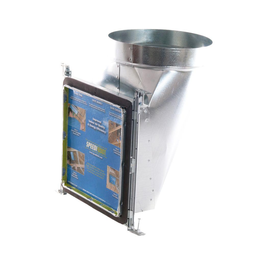 Bouche d'aération avec registre à 90 degrés et fixations réglables pour conduit de CVCA 8 po x 8 ...