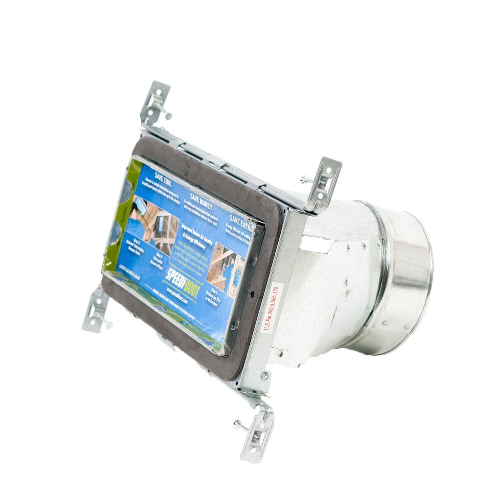 Bouche d'aération droite à registre avec fixations réglables pour conduit de CVCA 4 po x 10 po x ...