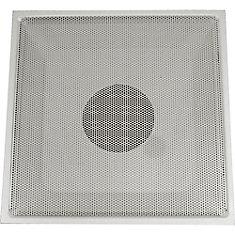Grille dextraction dair blanche en acier pour plafond suspendu T, perforée, avec charnières 24 x 24 x collet 6 po