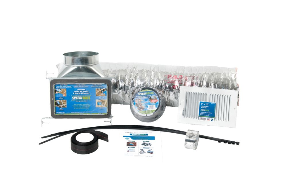 HVAC Install Kit includes 6 in. x 10 in. x 7 in. 90 Degree Speedi-Boot, Collar, Grille, Flexible ...