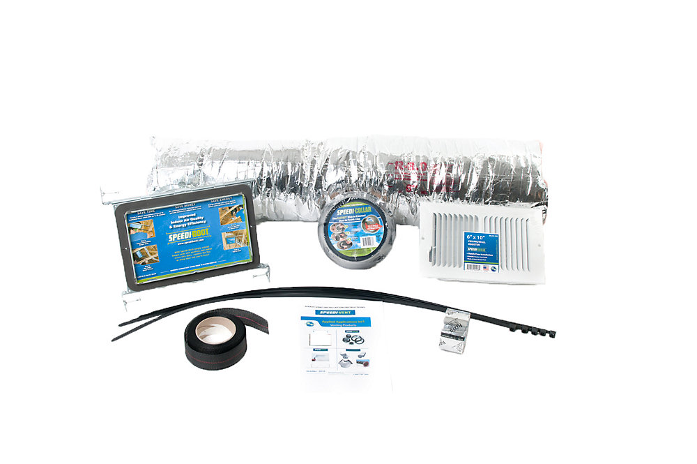 HVAC Install Kit includes 4 in. x 10 in. x 6 in. Straight Speedi-Boot, Collar, Grille, Flexible Duct, & Acc.