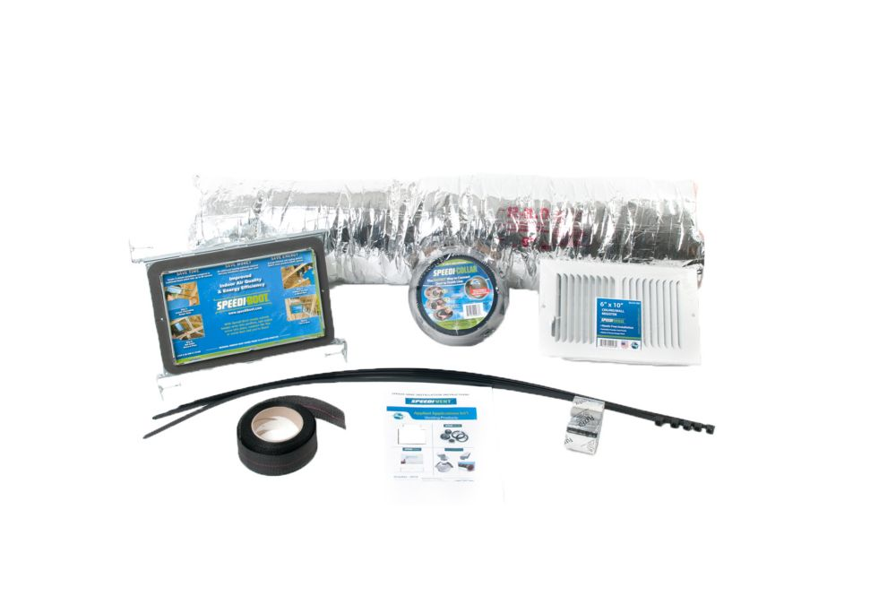 HVAC Install Kit includes 6 in. x 10 in. x 7 in.Straight Speedi-Boot, Collar, Grille, Flexible Du...