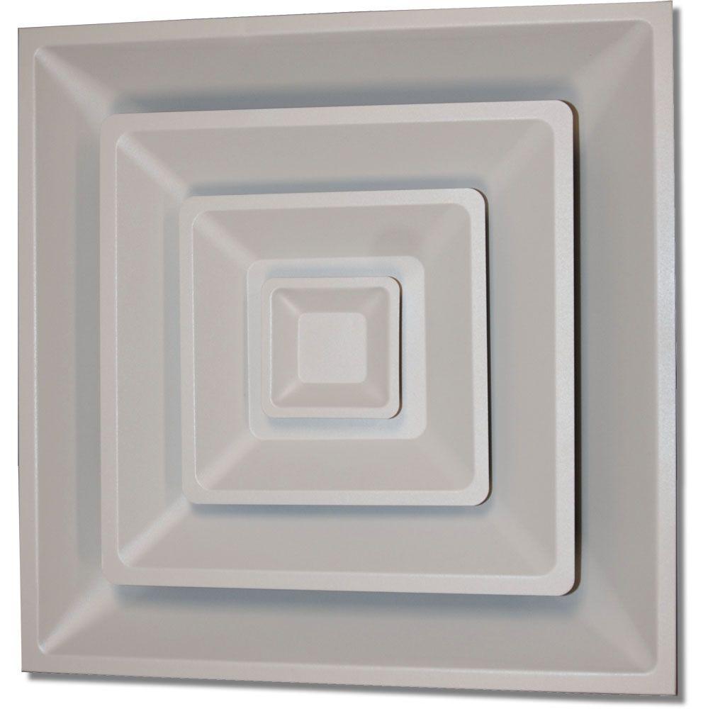 Diffuseur carré blanc doux pour plafond suspendu T, à 3 sections en acier, avec charnières et  ar...
