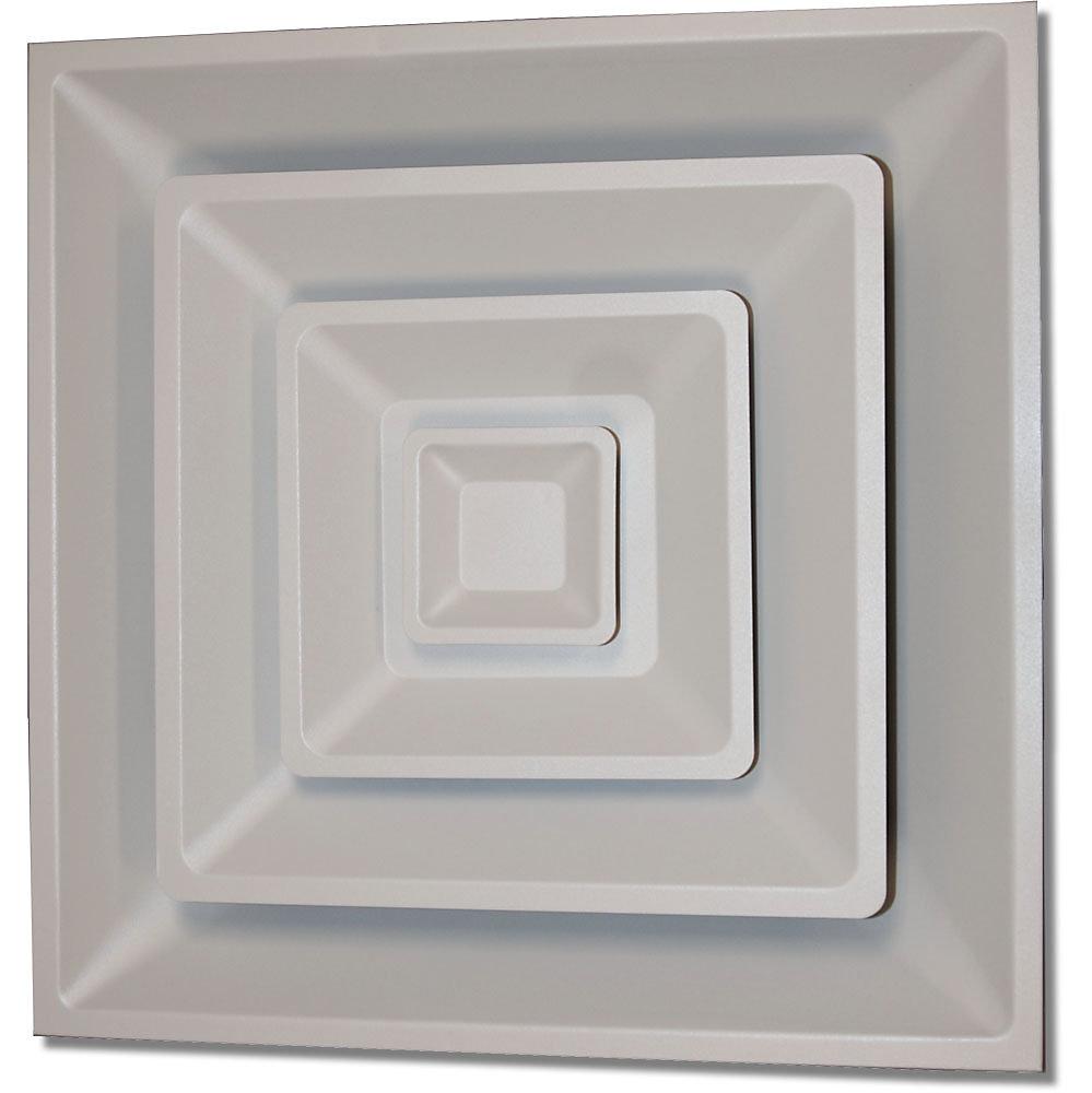 Diffuseur carré blanc doux pour plafond suspendu T, à 3 sections en acier, avec charnières et  articulation mécanique 24 x 24 x 10 po