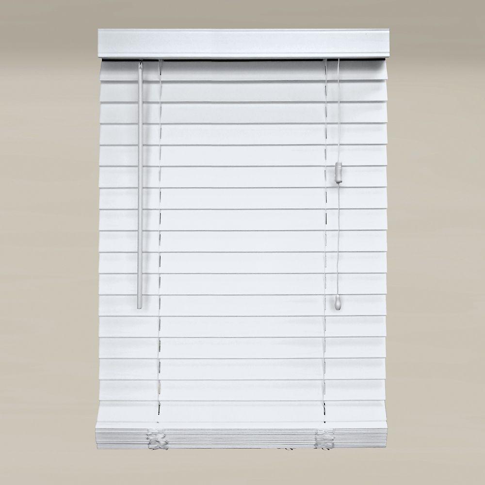 Store en similibois de 5,08 cm (2 po), Blanc, 152cmx163cm (Largeur réelle 151cm)