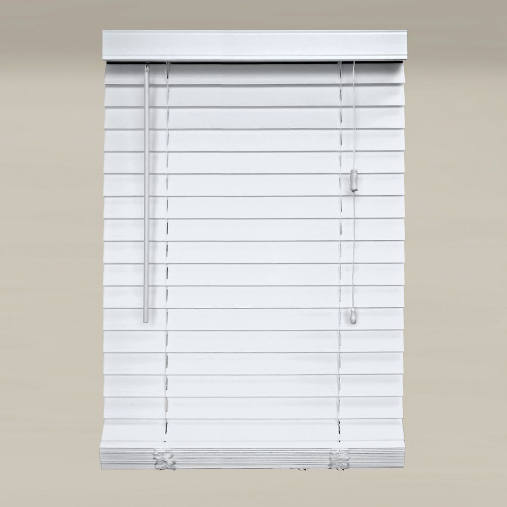 66x64 White 2 Inch Faux Wood Blind (Actual width 65.5 Inch)