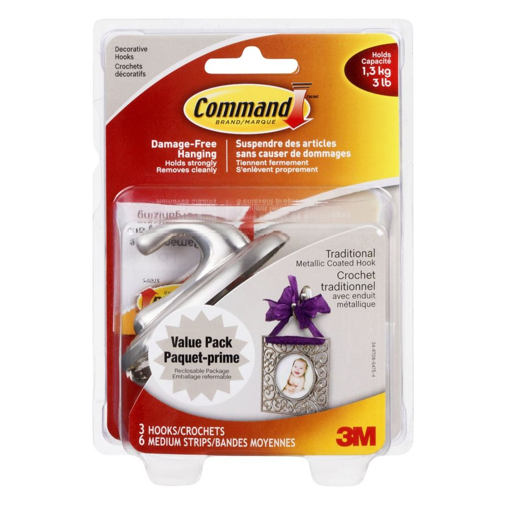 Command Traditional Medium Hook Value Pack, 17051BNC-VP, brushed nickel