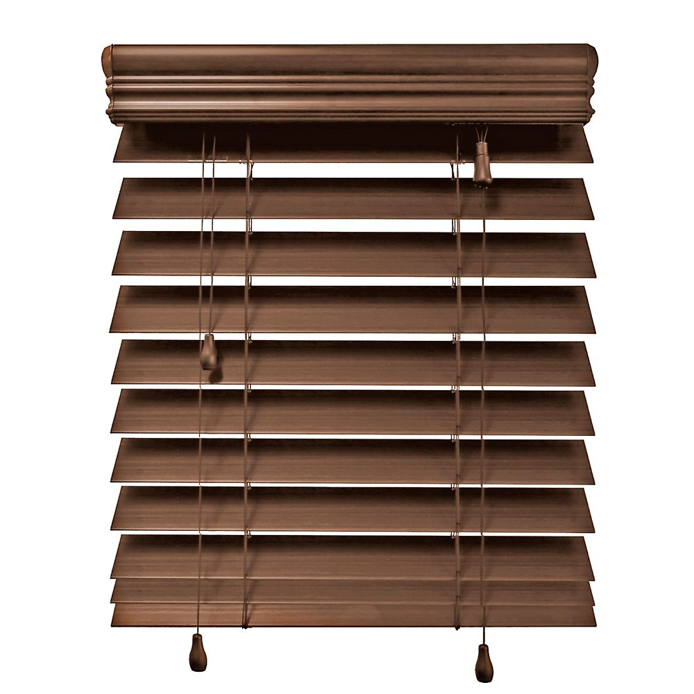 24x48 Maple 2.5 Inch Premium Faux Wood Blind (Actual width 23.5 Inch)