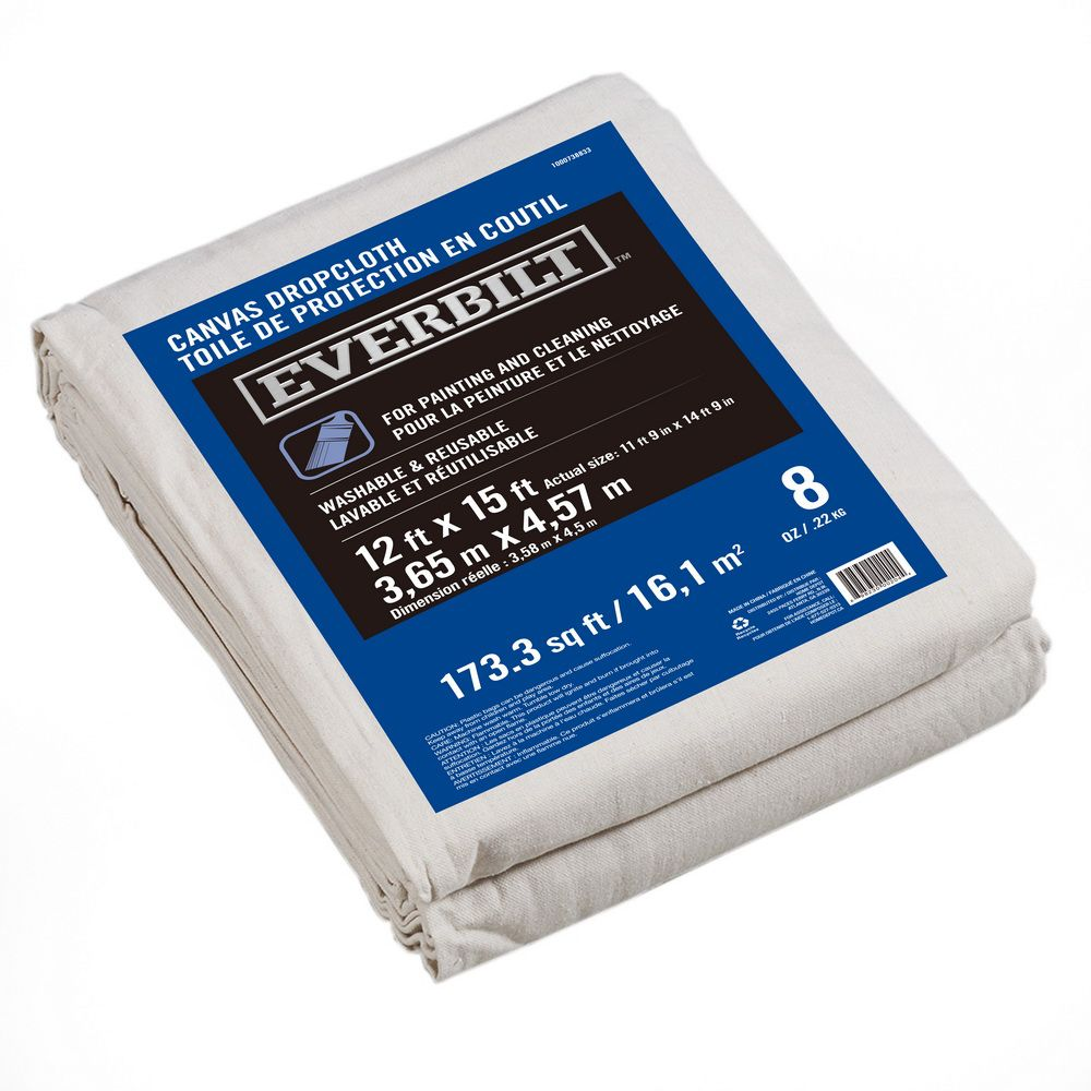 Everbilt 12 Ft X 15 Ft 227g Canvas Drop Cloth The Home Depot Canada