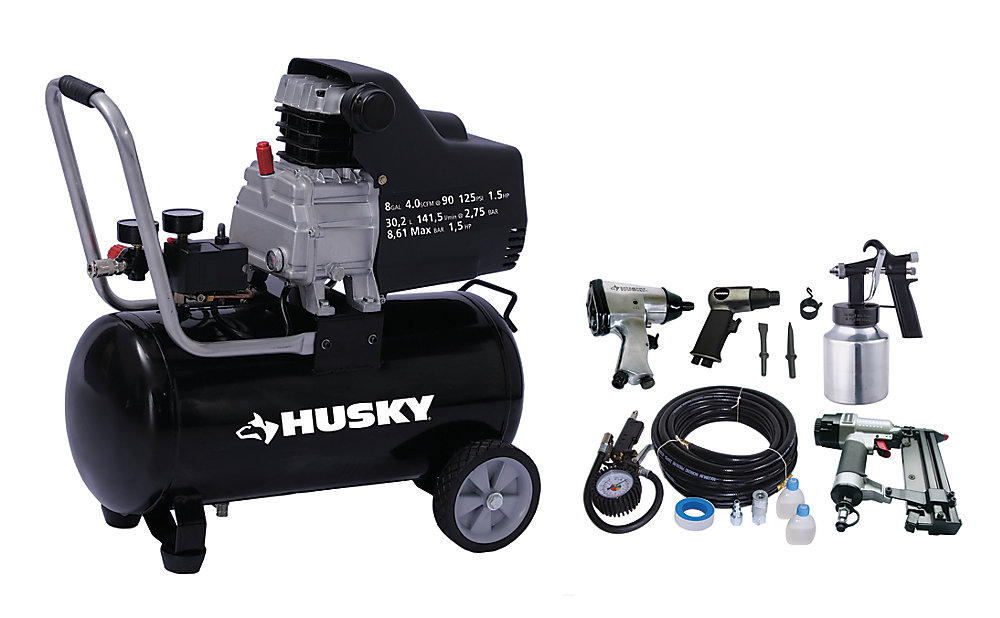 8 Gallon Portable Oil Lubricated Air Compressor with Air Tool Kit