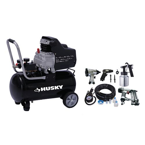 Husky 8 Gallon Portable Oil Lubricated Air Compressor with Air Tool Kit