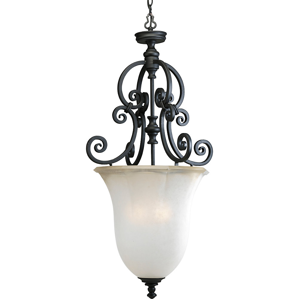 Guildhall Collection Forged Black 3-light Foyer Pendant