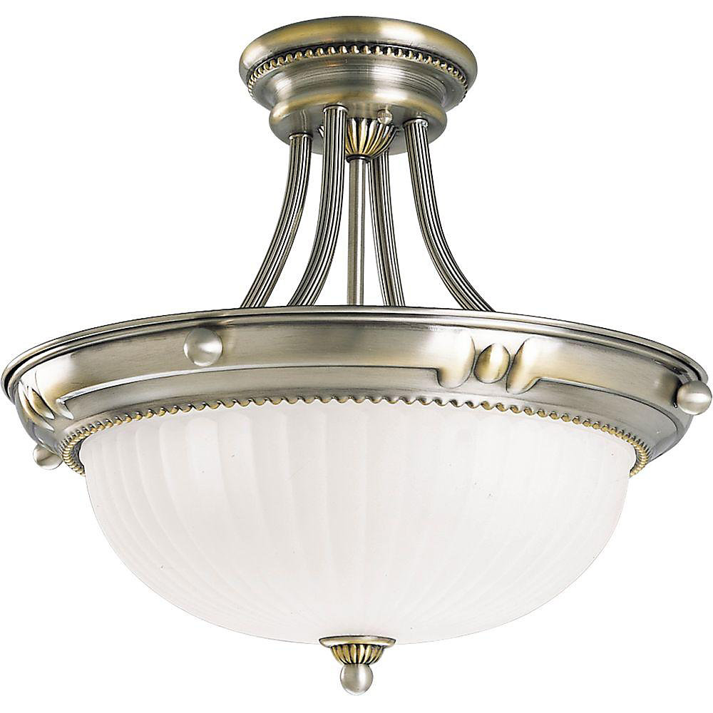Huntington Collection Colonial Silver 3-light Semi-flush mount
