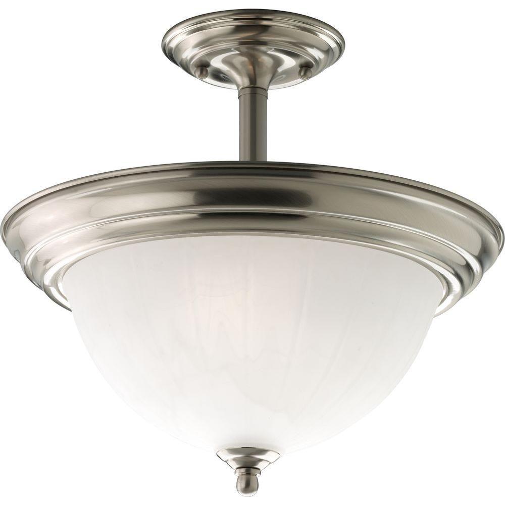 Brushed Nickel 2-light Semi-flush mount