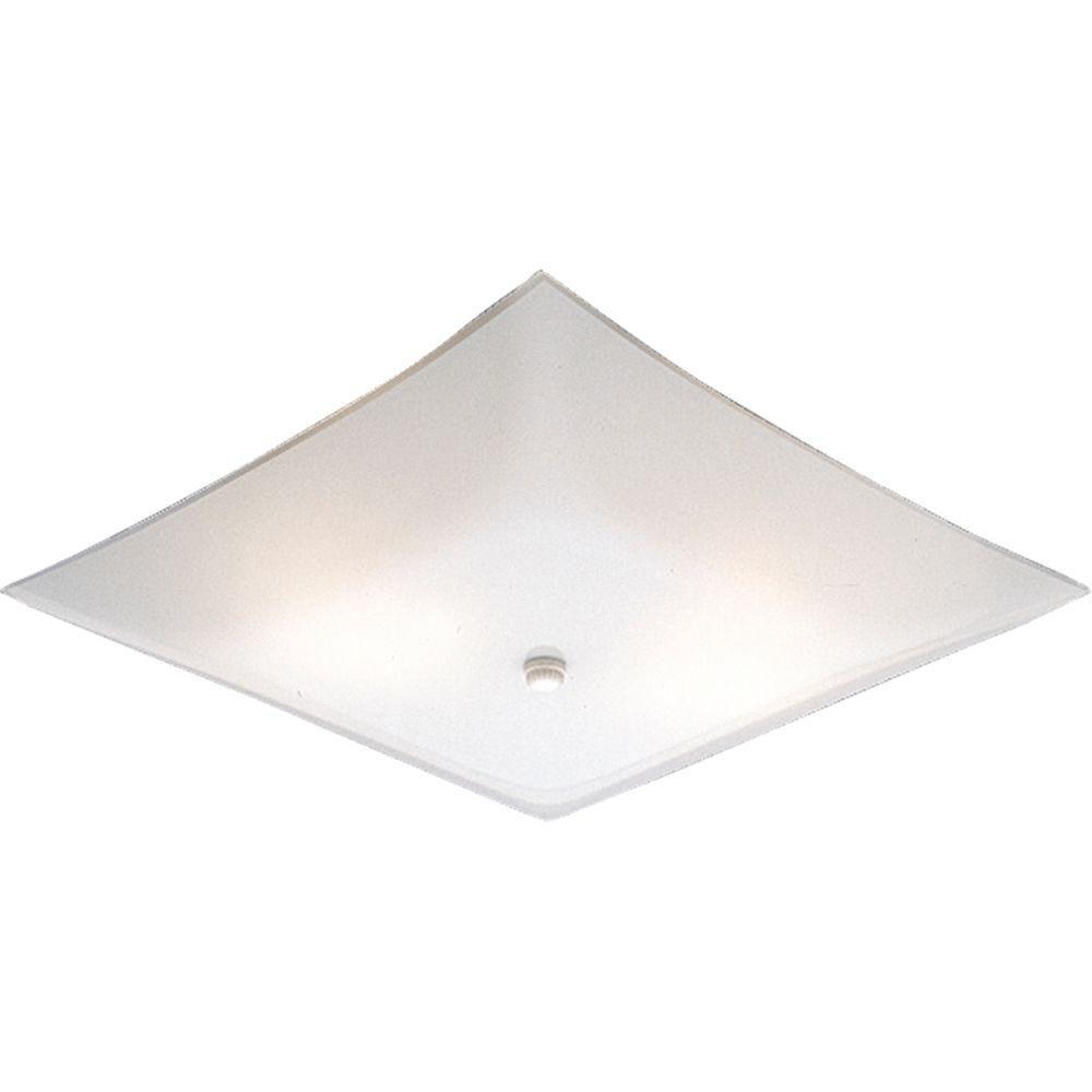 White 2-light Flush mount