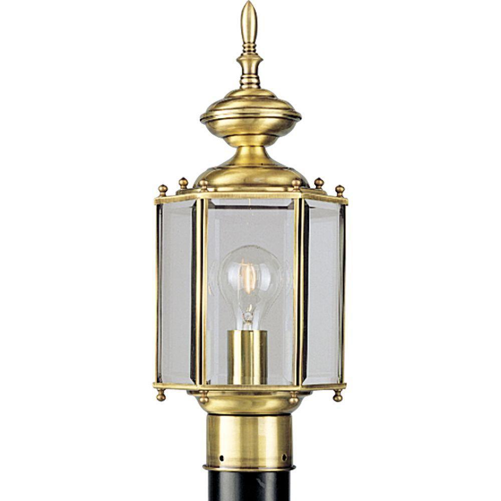 BrassGUARD Collection Polished Brass 1-light Post Lantern