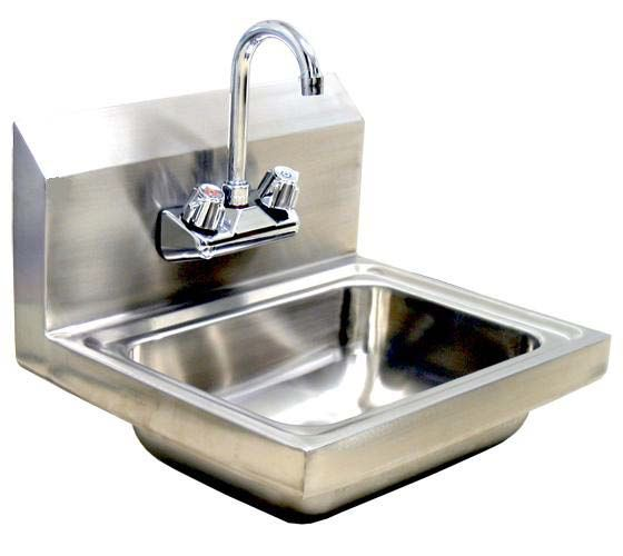 Wall-Mount Hand Sink with Faucet and Waste