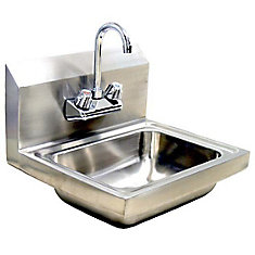 wallmount hand sink with faucet and waste
