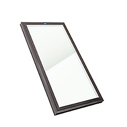 Columbia Skylights 2ft x 4ft Fixed Curb Mount LoE3 Double Glazed i89 Glass Skylight with Brown Frame