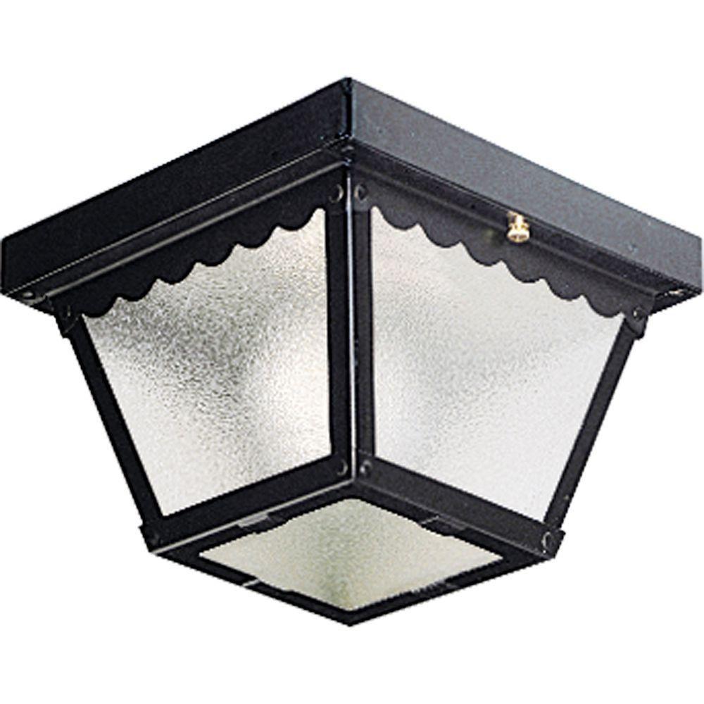 Black 1-light Outdoor Flush mount