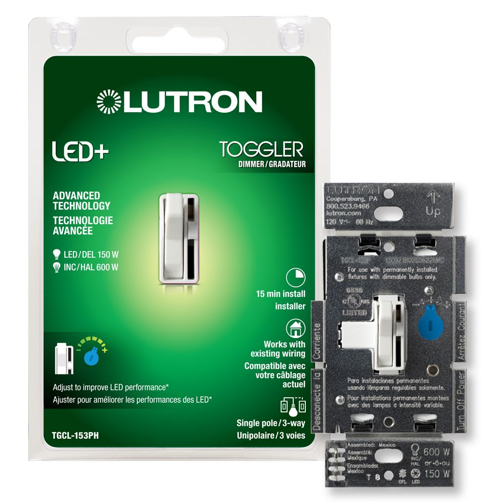 Lutron Toggler 150 Watt Single Pole 3-Way CFL LED Dimmer - White