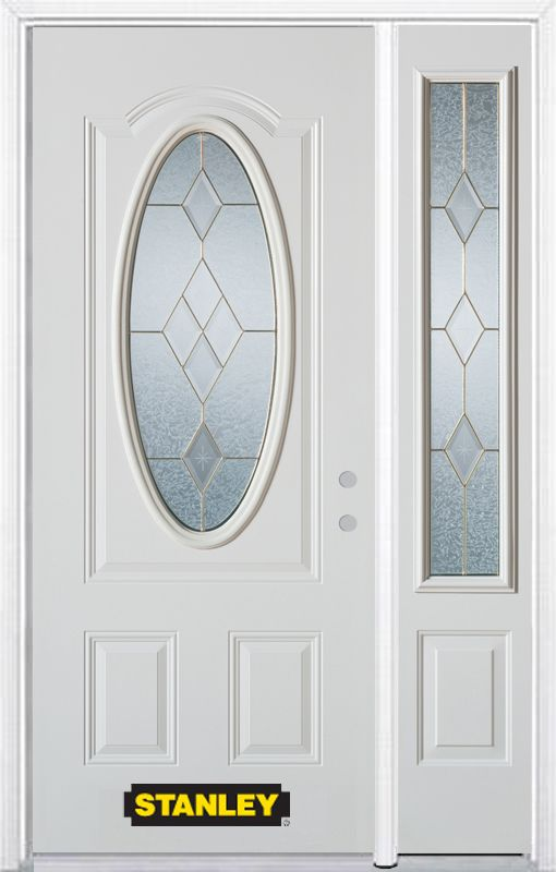 Stanley Doors 48.25 inch x 82.375 inch Tulip Brass 3/4 Oval Lite 2-Panel Prefinished White Left-Hand Inswing Steel Prehung Front Door with Sidelite and Brickmould
