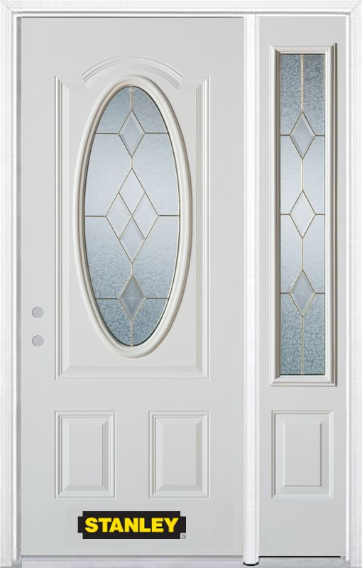 52-inch x 82-inch Tulip Oval 3/4-Lite White Steel Entry Door with Sidelite and Brickmould
