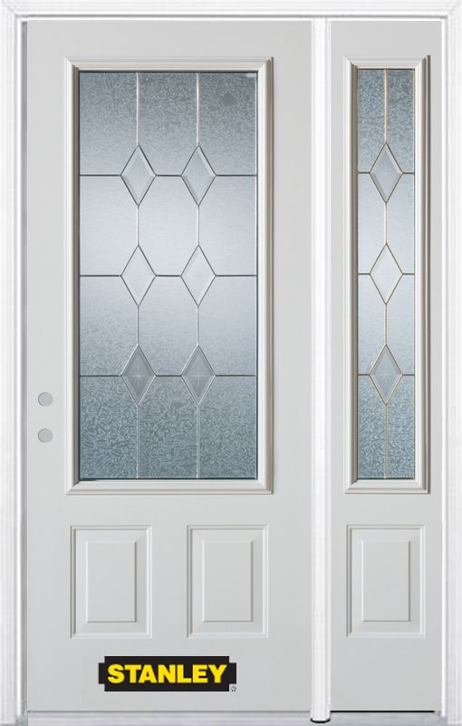 Stanley Doors 50.25 inch x 82.375 inch Tulip Brass 3/4 Lite 2-Panel Prefinished White Right-Hand Inswing Steel Prehung Front Door with Sidelite and Brickmould