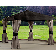 Maya 10 ft. x 10 ft. Sun Shelter with Mosquito Netting in Brown and Taupe