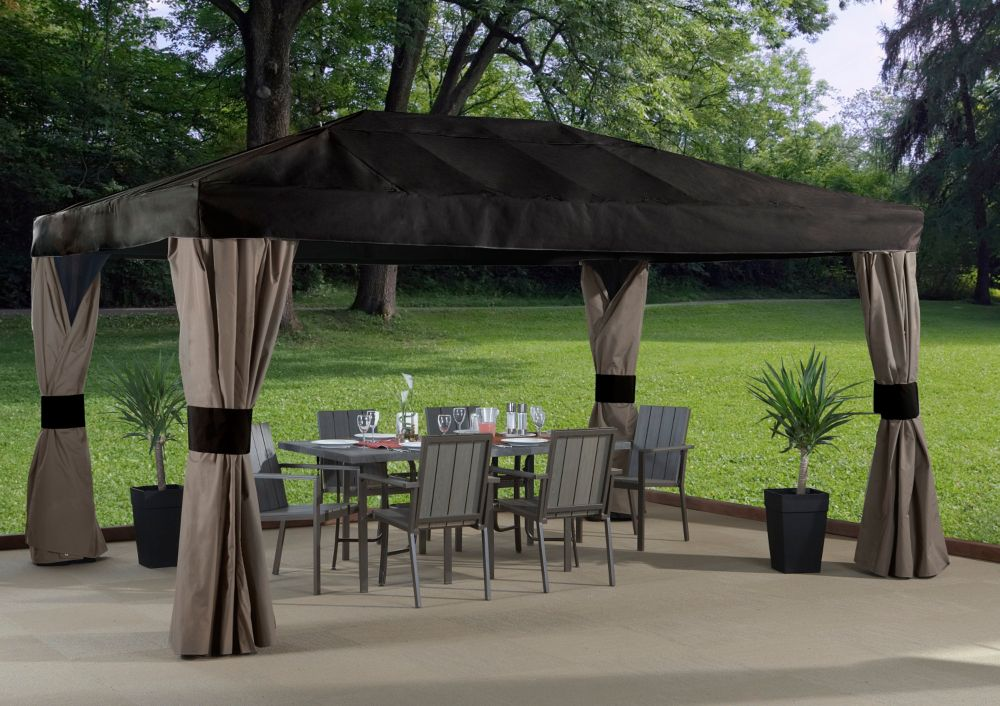 Maya 10 ft. x 14 ft. Sun Shelter with Mosquito Netting in Brown and Taupe