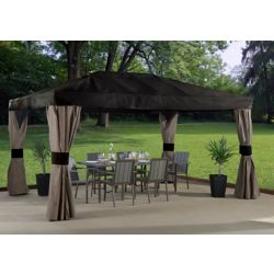 Sojag Maya 10 ft. x 14 ft. Sun Shelter with Mosquito Netting in Brown and Taupe