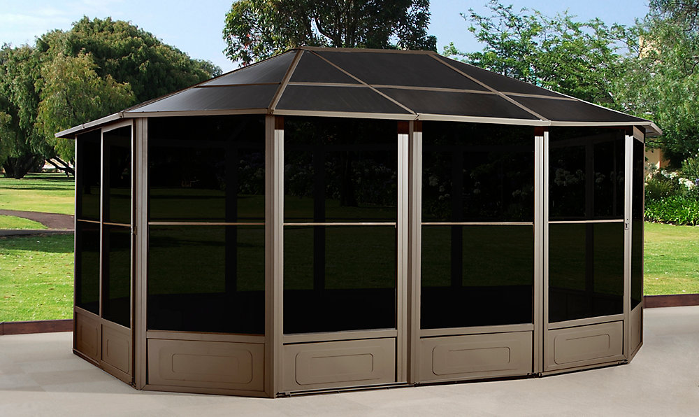 Korado 12 ft. x 15 ft. Octogonal Solarium with 2 Sliding Doors in Caramel
