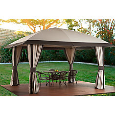 Piati 12 ft. x 14 ft. Sun Shelter with Flex Roof in Beige/Brown