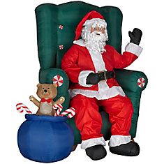 Airblown Animated Realistic Santa In Chair