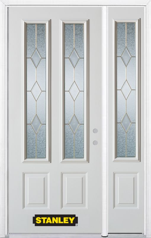 Stanley Doors 52.75 inch x 82.375 inch Tulip Brass 2-Lite 2-Panel Prefinished White Left-Hand Inswing Steel Prehung Front Door with Sidelite and Brickmould