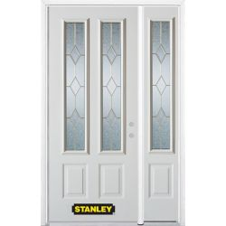 STANLEY Doors 50.25 inch x 82.375 inch Tulip Brass 2-Lite 2-Panel Prefinished White Left-Hand Inswing Steel Prehung Front Door with Sidelite and Brickmould