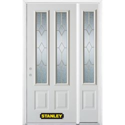 Stanley Doors 48.25 inch x 82.375 inch Tulip Brass 2-Lite 2-Panel Prefinished White Right-Hand Inswing Steel Prehung Front Door with Sidelite and Brickmould - ENERGY STAR®