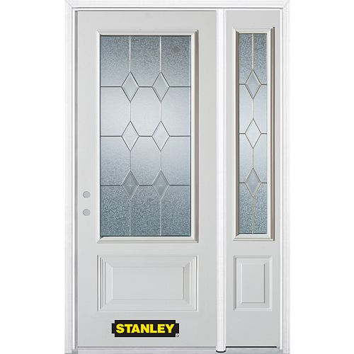 STANLEY Doors 48.25 inch x 82.375 inch Tulip Brass 3/4 Lite 1-Panel Prefinished White Right-Hand Inswing Steel Prehung Front Door with Sidelite and Brickmould
