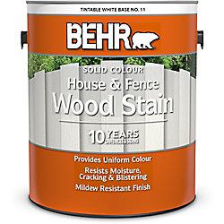 BEHR teinture pour bois de couleur opaque - Maisons et clôtures - Blanc colorable no 11, 3,79 L