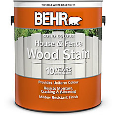 BEHR Solid Colour House & Fence Wood Stain - White No. 11,  3.79 L