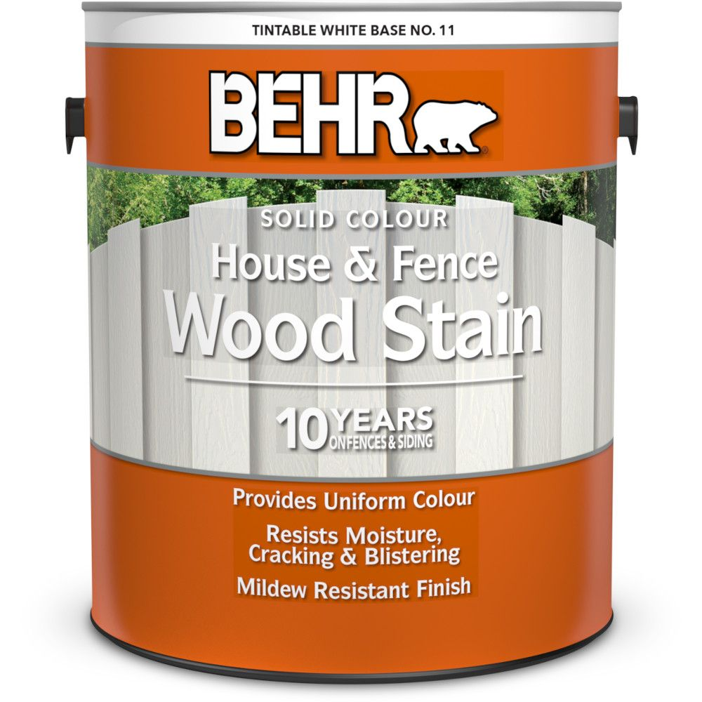 Behr BEHR Solid Colour House & Fence Wood Stain - White No. 11,  3.79 L
