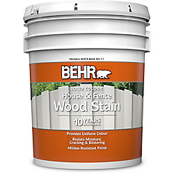 BEHR Solid Colour House & Fence Wood Stain - Tintable White No. 11, 18.9 L