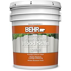 Behr BEHR Solid Colour House & Fence Wood Stain - White No. 11,  18.95 L