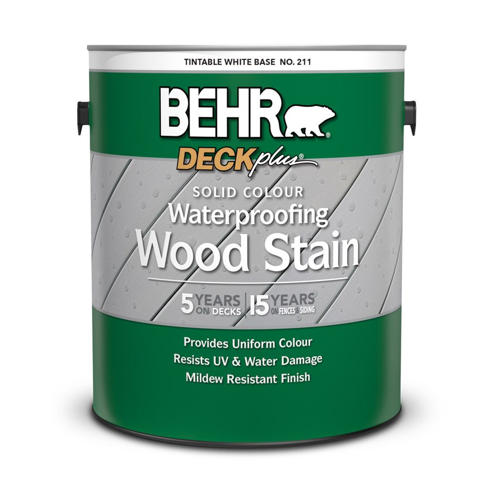 BEHR Solid Colour Waterproofing Wood Stain - White No. 211,  3.79 L