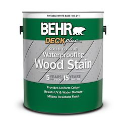 BEHR DECKplus - teinture imperméabilisante pour bois de couleur opaque - Blanc colorable no 211, 3,79 L