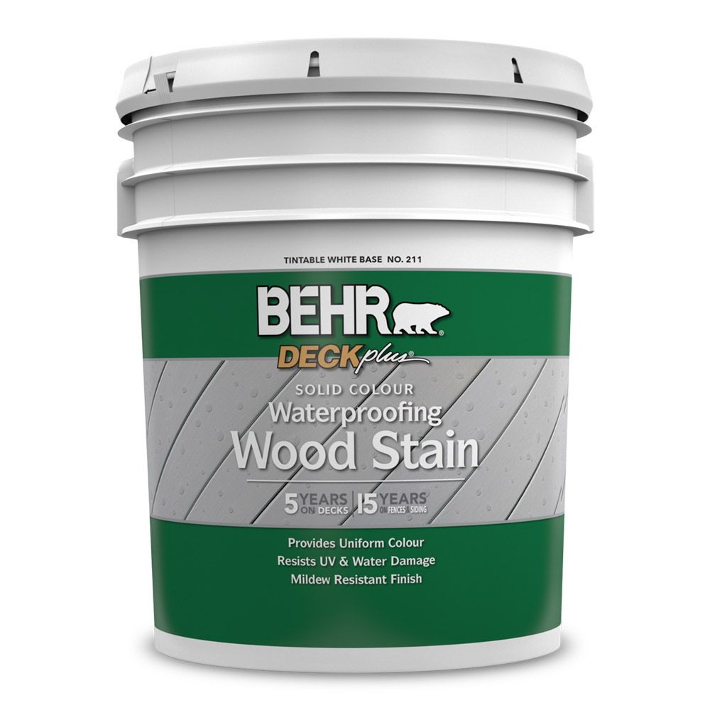 BEHR Solid Colour Waterproofing Wood Stain - White No. 211,  18.95 L