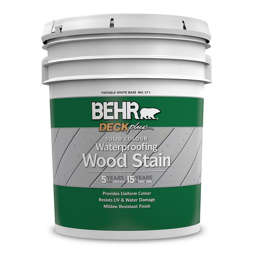 DECKPLUS Solid Colour Waterproofing Wood Stain - Tintable White No. 211, 18,9 L