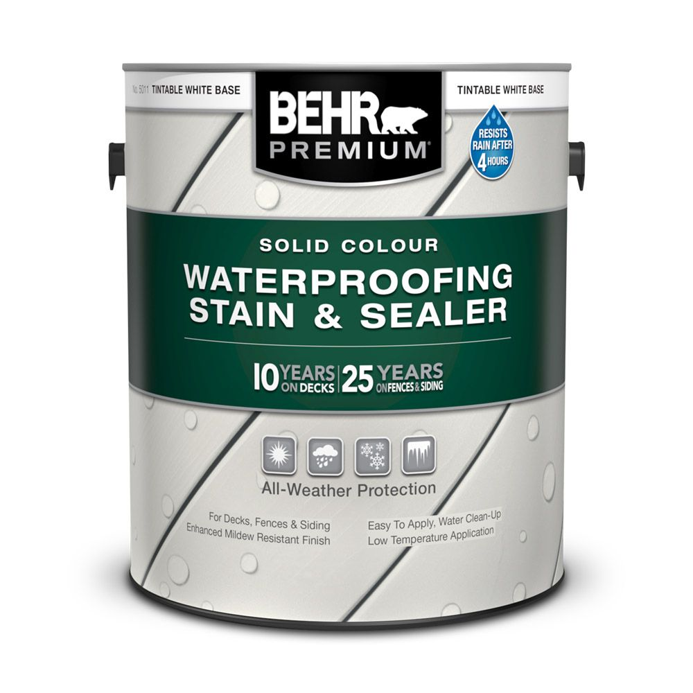 BEHR PREMIUM Solid Colour Weatherproofing Wood Stain, White No. 5011, 3.79 L